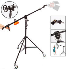 Studio Light Stand Boom Arm Rotatable Heavy Duty Steel Photo Photography Wheels