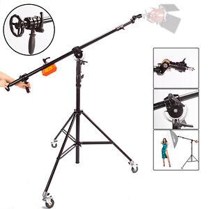 Studio Light Stand Boom Arm Rotatable Heavy Duty Steel Photo Photography Wheels