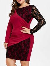 Ladies Lace Panel Plus Size Bodycon Dress Elegant Cocktail Party Wrap Dresses
