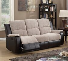 Beige Brown High Quality Fabric Manual 3 Seater Recliner Sofa Suite PASCARA