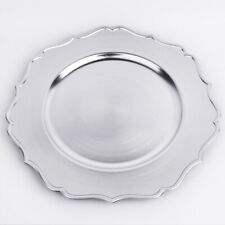 Silver Charger Plates x 12 - Metallic Silver Plastic 33cmD  Wedding Party Table
