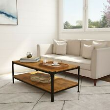 Wooden Coffee Table Metal Frame Rustic Decor Livingroom Living Room 47 Inches