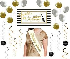Retirement Party Package (37 Pack, Banner, Sash, Swirls & Balloons)