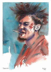 original painting A4 204SE art samovar watercolor Modern male portrait Signed