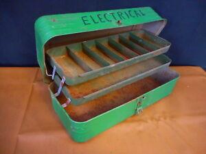 "Vintage Metal Fishing TACKLE BOX  METAL Painted GREEN HINGED TRAY ""electrical"""