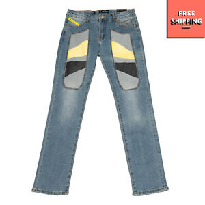 JECKERSON Jeans Size 38 / 12Y Stretch Faded Effect Colour Block Patches