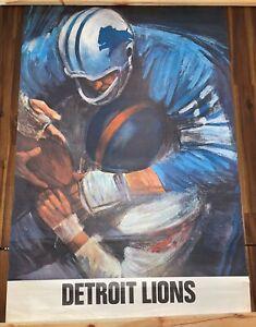 Vintage 1960's NFL David Boss Poster Detroit Lions 24 x 36 inches
