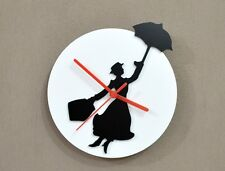 Mary Poppins - Black & White Silhouette - Wall Clock