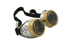 STEAMPUNK CYBER GOGGLES SILVER ANTIQUE COPPER WATCH MOVEMENT CYBERGOTH COSPLAY
