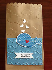 Stampin Up OH WHALE & HAPPY WHALE clearlit & CLOUDS embossing folder ~ baby fish