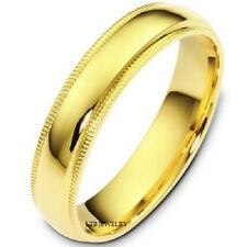 10K YELLOW GOLD MENS WEDDING BAND RING DOME  MILGRAIN 5MM