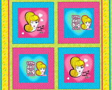 Mattel Barbie Cotton Fabric Doll Glamor Girl Barbies Pink Bling Pillow Panel