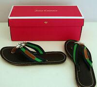 Juicy Couture New Genuine Navy Green Fiji Jewelled Flip Flops In Box UK Size 4.5