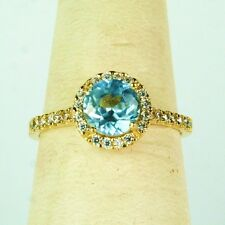 14K solid yellow gold gorgeous faceted Blue Topaz & white Topaz wedding ring