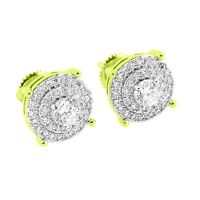 14K Gold Tone Halo Prong Set Earrings Simulated Diamonds
