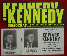 Edward Ted Kennedy 1980 vintage political campaign poster fliers1962 stickers