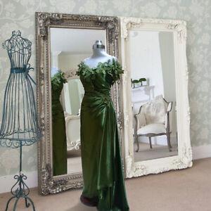 Haute Couture Silk Emerald Green Rushed Off the Shoulder Dress Size 38 EU