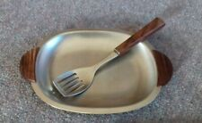 Vintage Steel dish with teak handles with fork Danish Style Mid Century
