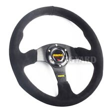 NEW 350MM Dished Genuine Suede Leather Racing Sport Steering Wheel w/ MOMO Horn