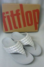Fitflop Lulu Padded Shimmy Suede Silver Toe Post Ladies Sandals Ladies Box Sz 8