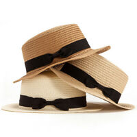 Women Children Kid Straw Boater Brim Hat Sailor Skimmer Bow Beach Summer Sun Cap