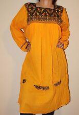 Yellow Handmade Chiapas Mexican Dress Mayan Back Strap Loom 100% Gauze Cotton M
