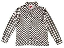 Dickies Girl Juniors Womens Checkered Denim Jacket (Gray/White) size Small
