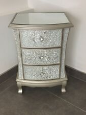Pair Of Modern Silver Crackle Mirrored Glass 3 Drawer Bedside Cabinets Tables