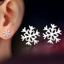 2pair Women Fashion 925 Silver Plated Snowflake Flower Ear Stud Earrings Jewelry