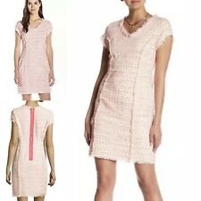 NANETTE LEPORE CONFETTI BOUCLE  TWEED FORMAL NEON CORAL DRESS BNWT US12 UK 14-16