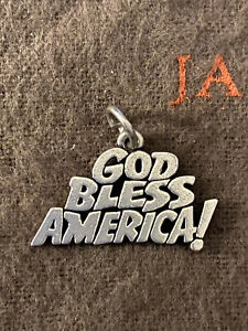James Avery Retired God Bless America Charm Sterling Silver