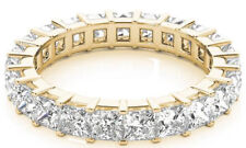 5.25 carat Princess Cut Diamond Wedding Band Eternity 14k Yellow Gold Ring F Vs