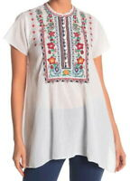 $260 Johnny Was Embroidered Yoke Tunic Small 4 6 Bold Embroidery on White NWT
