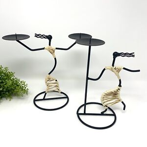 Laurids Lonborg Set of 2 Metal Wire Candle Holders Danish Mid Century Mod Rattan