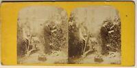 Giardinaggio Scena Da Genere Francia Foto Stereo P49p1n Vintage Albumina c1870