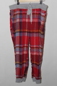 Aerie Women's Flannel Pajamas Jogger Red White Blue Plaid Pants Large Cuff Legs