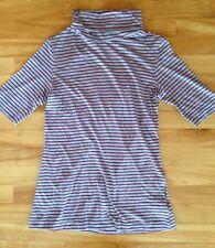 NWOT TwentyOne Striped Short Sleeve Turtleneck Tee Top Grey Dark Red Sz M/L