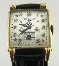 Swiss LONGINES men's wrist watch with masonic signs. Cal. 10 L.Rectangular case.