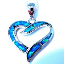 """**UK**GORGEOUS 925 SILVER BLUE FIRE OPAL HEART  WITH 20"""" SILVER CHAIN"""