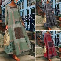 ZANZEA Womens Summer Bohemia Floral Holiday Bech Loose Long Maxi Dresses Plus