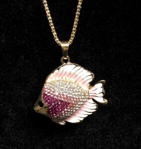 Betsey Johnson Necklace Fish Pink White OMBRE GOLD CRYSTALS Gift Box Bag