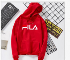 FILA Black/Gray/White Teenager Long Sleeve Hoodie Student Sweatshirt Jacket Coat
