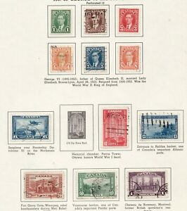 Sc#231-36 // 241-45  - Canada - Pictorial set - 1937 - Used -  Superfleas cv$21