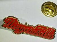 Red Vintage Cursive Niagara Falls Gold Colored Toned Button Enamel Pinback Pin