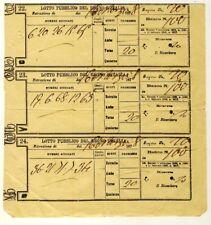 12346- Lotto pubblico del Regno d' Italia, 6 cedole,1878