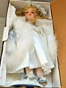 Marie Osmond Porcelain Doll with Detachable White Feather Angel Wing 15'' T