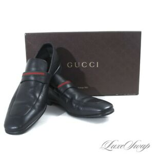 #1 MENSWEAR LNIB Gucci Made in Italy Black Grained Leather Stripe Loafers 7.5 NR