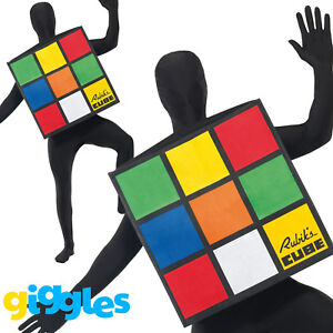 Rubiks Cube 80s Adult Costume Licensed Mens Ladied Womens Fancy Dress Outfit