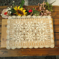 "Vintage Handmade Crochet Doilies Rectangle Lace Table Cloth Runner Doily 15""x23"""