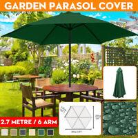 2.7m Outdoor Cafe Umbrella Aluminum Garden Parasol Patio Sun Shade Canopy Cover